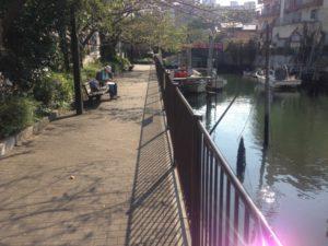 佃堀の漁船が係留するエリア